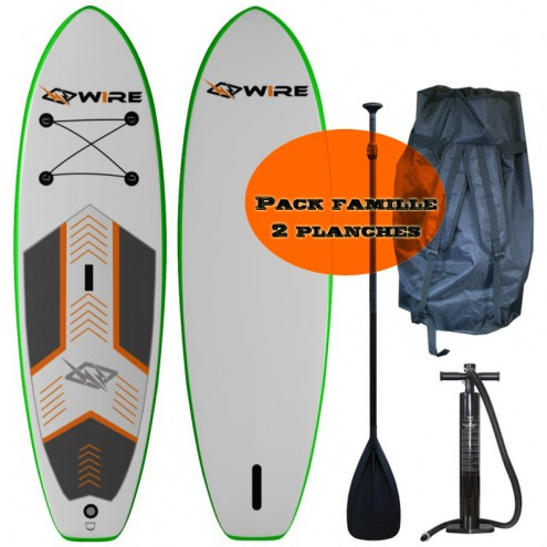 Pack famille 2 stand Up Paddle SUP gonflable WIRE board