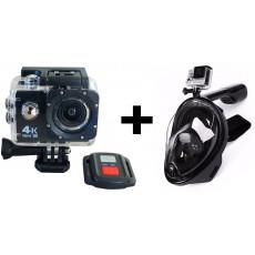 Pack caméra d'action avec masque de plongée de surface