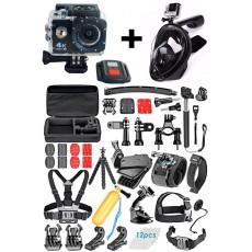 pack caméra d'action avec kit d'accessoires et masque de snorckeling