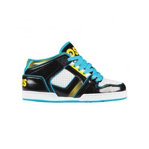 chaussures osiris nyc 83 mid ult black, white, blue